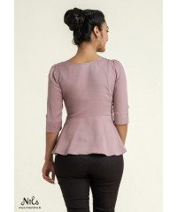 JAYDA PURPLE PEPLUM OFFICE BLOUSE