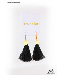 BLACK MINI TASSEL EARRING