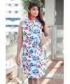 BLUE FLOWER FRONT POCKET DRESS