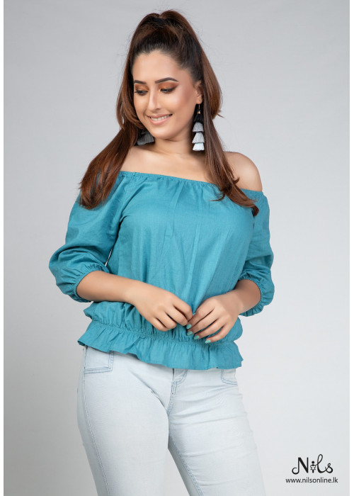 NECK AND SLEEVE GATHER SHORT TOP