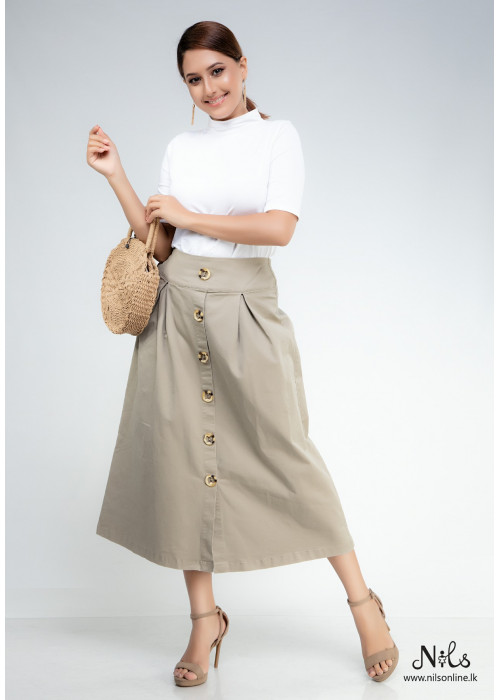 A LINE FRONT BUTTON UP MIDI SKIRT