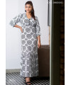 PRINTED FRONT BUTTON MAXI DRESS
